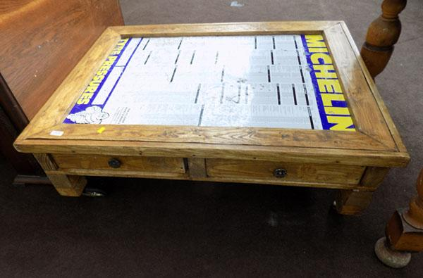 Rustic coffee table with sign