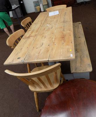 Farmhouse table with 4 chairs & bench
