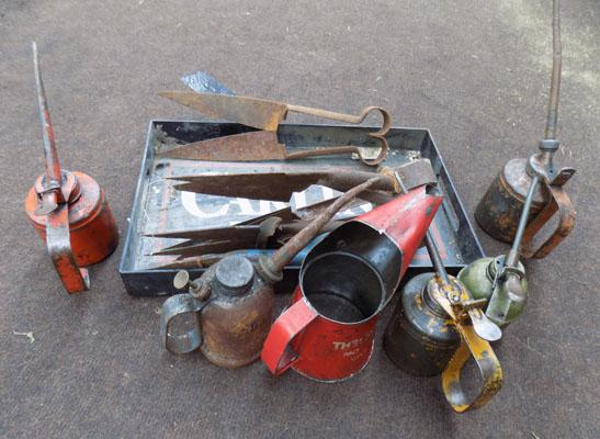 Tray of tools & oil cans etc