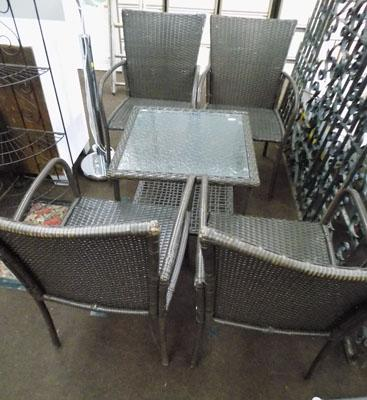 Rattan-4 Garden chairs & glass top table