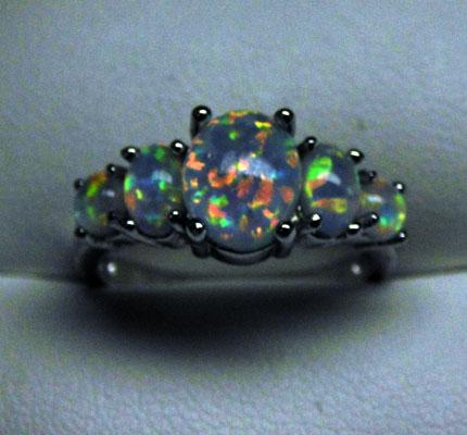 925 Silver & Opal ring size N1/2