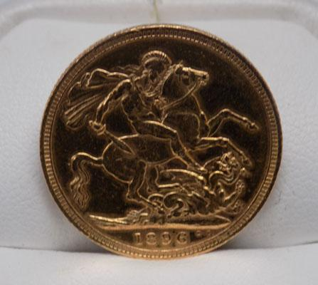 Solid gold Sovereign coin 1896