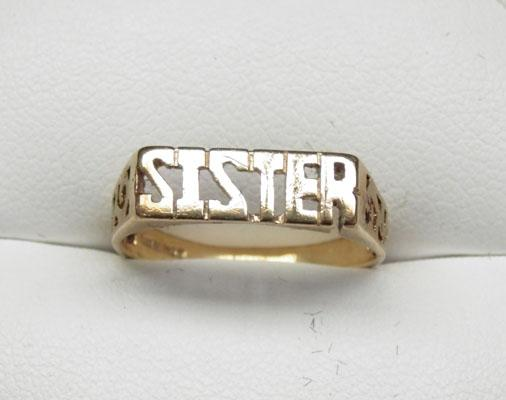 9ct Gold Sister ring size N1/2