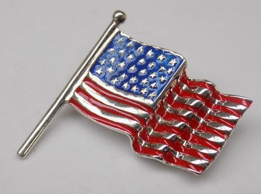 Silver American flag badge