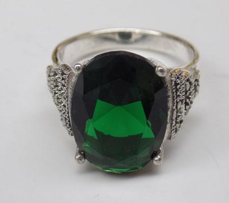Art Deco style silver Emerald & Marcasite ring