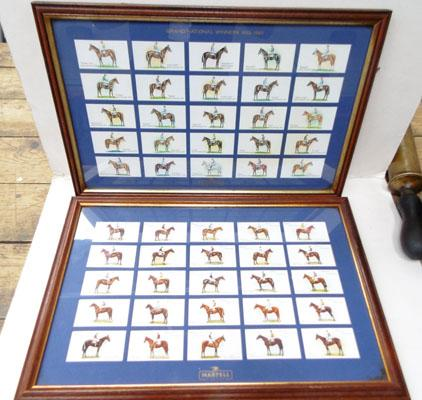 2x Framed sets of cigarette cards-Grand National winners 1933-1963 Martell Cognac