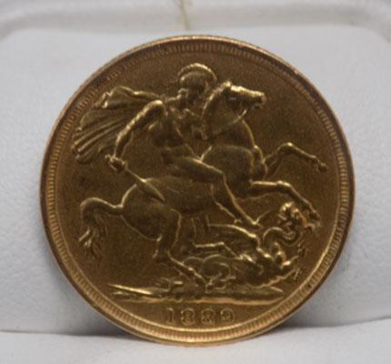 Solid gold Sovereign coin 1889