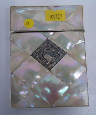 Victorian Mother of Pearl card case silver cartouche
