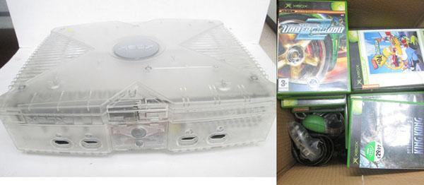 Modded crystal Xbox with games and controllers W/O