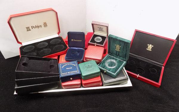Tray of coin cases and boxes