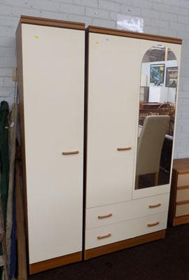 Single & mirrored wardrobe with drawers
