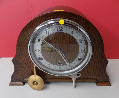 English Oak mantle clock with Westminster chimes (key & pendulum in office) w/o