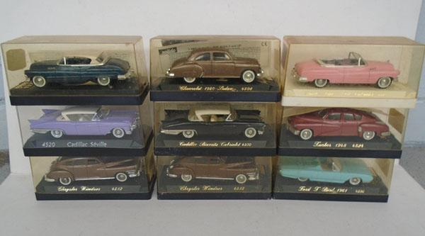 Collection of 9 Solido die cast cars-vintage American classics