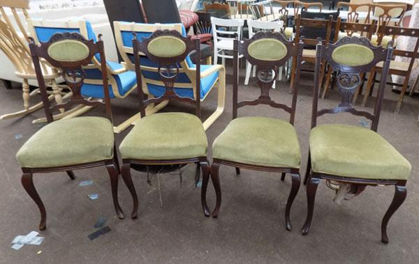 Set of 4 carved wooden dining chairs