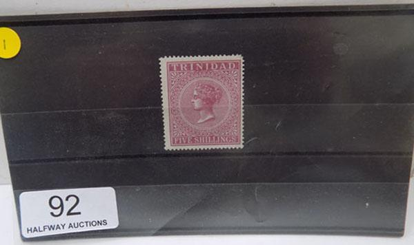 Rare Trinidad 5 shillings Queen Victoria stamp-mint