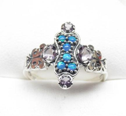Silver Victorian style Amethyst & Opal cluster ring size P