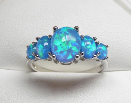 Silver & Blue Opal ring size P