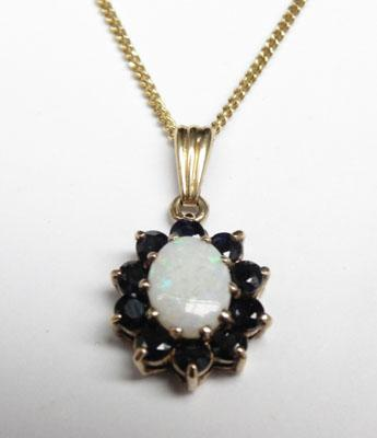 9ct Gold chain with Sapphire & Opal 9ct Gold pendant