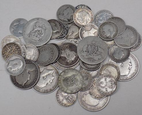 Selection of old coins-silver