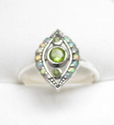 Silver Victorian style Opal & Peridot ring size N