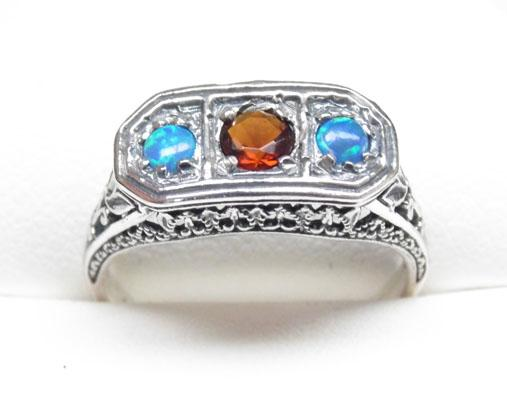 Silver Victorian style Opal & Garnet trilogy ring size P