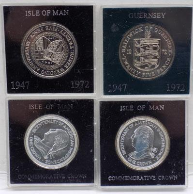 4x 1970's Silver proof coins-Isle of Man & Guernsey