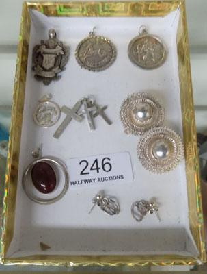 Collection of silver pendants, ear rings etc