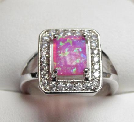 Silver & Opal square ring size N1/2