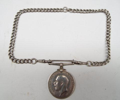 Pte D McCullock Lan Fusiliers WW1 medal & solid silver Albert chain
