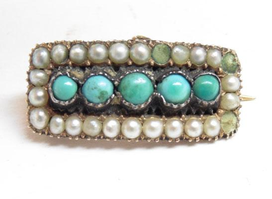 Vintage yellow metal & turquoise brooch