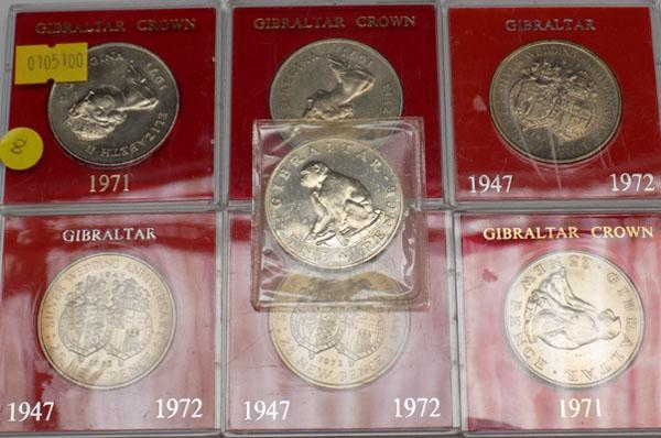 Selection of Gibraltar proof crown coins