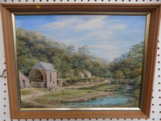 Original oil painting Lawrys Mill, St Magan, Falmouth-artist Millie Jackson