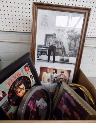 Box of Elvis pictures & clocks w/o