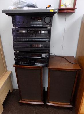 Technics & JVC stacker system with speakers