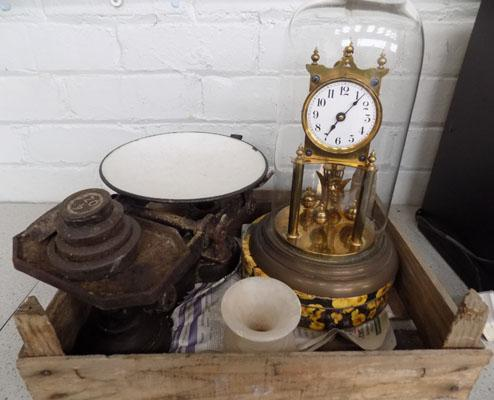 Box inc scales, domed clock & weights