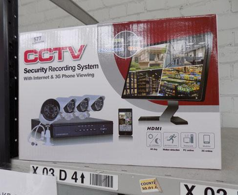 Brand new CCTV with 4 cameras & recorder box (no HDD) & cables etc