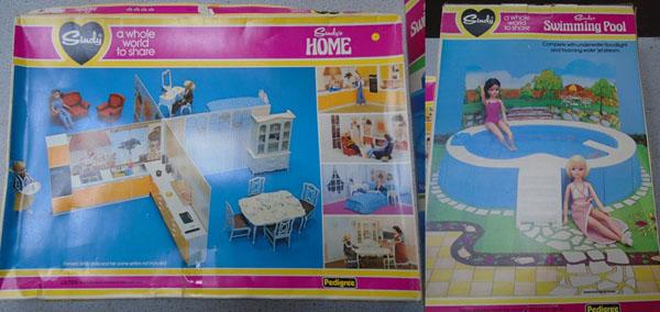 Pedigree Sindy 1970's boxed home + boxed swimming pool both complete