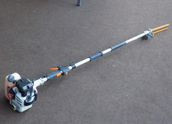 Garden cane long reach hedge cutter will take different attachments