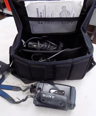 Sony camcorder with bag & batteries etc