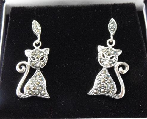Pair of Silver & Marcasite cat ear rings