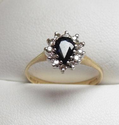 9ct Gold Sapphire & Diamond tear drop cluster ring size L