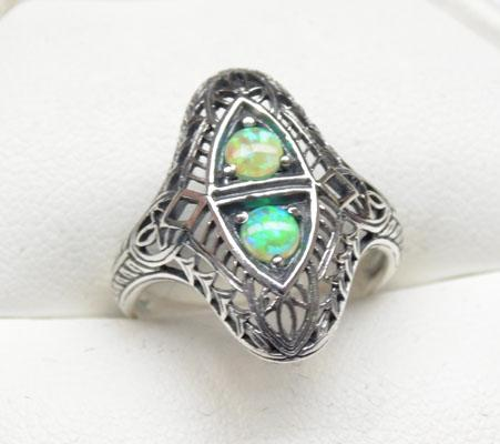 Silver Victorian style Filigree Opal ring size L1/2