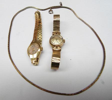 9ct Gold Omega ladies watch , Rotary watch & necklace