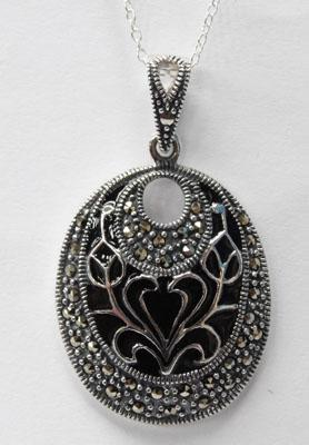 Silver Jet & Marcasite pendant on silver chain