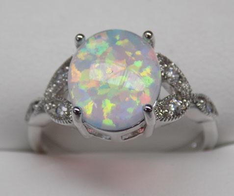 925 Silver oval Opal dress ring size R1/2