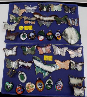Large collection of enamel Butterfly pendants