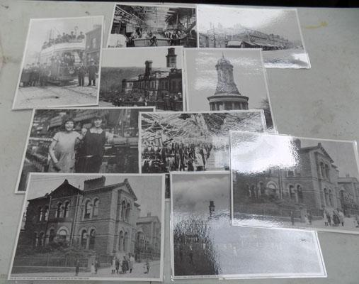 10x Laminated photos of Saltaire & mill 1900's