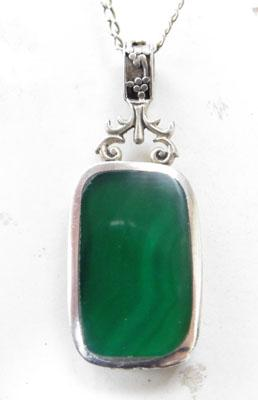 Silver Mother of Pearl & Malachite pendant on silver chain