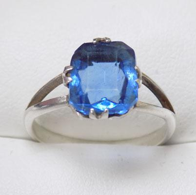 Sterling silver blue stone ring size approx O