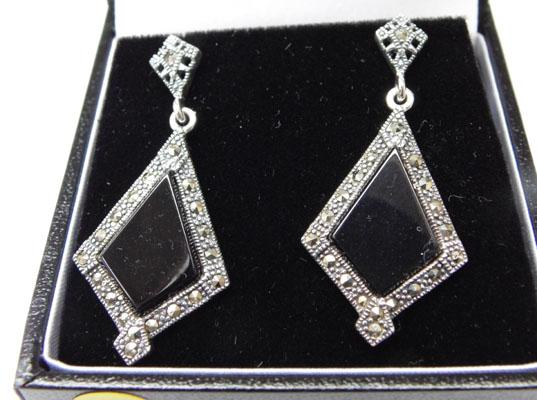 Pair of Art Deco silver & Marcasite ear rings